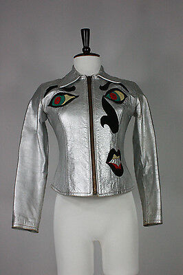 East West leather jacket S vintage silver faces glam handmade musical rare vtg