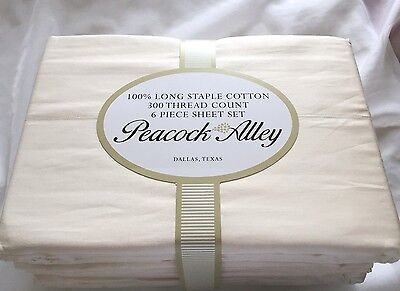 Peacock Alley 6PC Sheet Set LONG STAPLE Cotton Queen or Cal King White 4Cases