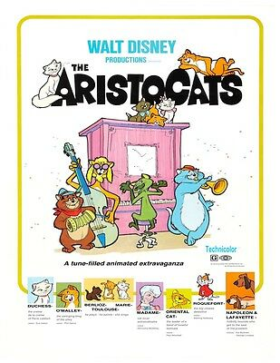 "DISNEY/'S THE ARISTOCATS MOVIE PRINT  8.5/"" x 11/"" B2G1 FREE!!"