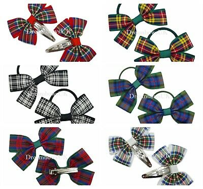 Dress Stewart tartan ribbon hair bows, tartan accessories, Clips or thin bobbles