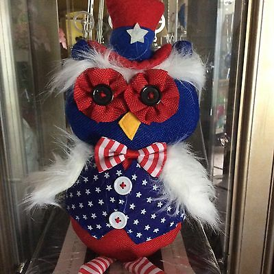 "Pier 1 Patriotic Owl Doll Red White Blue Stars Stripes Top Hat  22"" New"