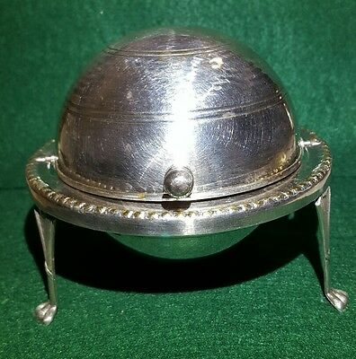 Silver plated roll top butter dish made in England