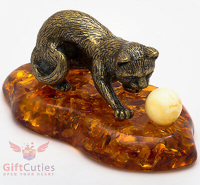 Solid Brass Amber Figurine of Cat playing with Yarn Ball IronWork