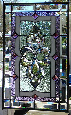 Stained Glass window hanging 27 1/'2 X 17 1/2
