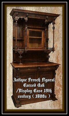 ANTIQUE FRENCH FIGURAL CARVED OAK CABINET / DISPLAY CASE 19th century ( 1800s )