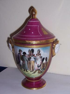 Rare Signed Sevres Maroon Gilt Hand Painted Napoleon Figure Bee Fly Lidded Urn