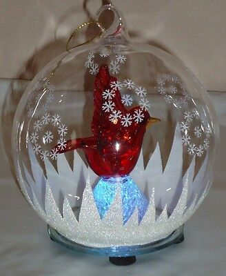 "Lighted Glass Cardinal Ball Christmas Ornament Decoration w/Box 4.5""H"