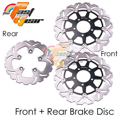 Front Rear SS Brake Disc Rotor Set For Suzuki GSX 600 F 03 04 05 06