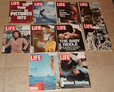 Lot of 10 Life Magazines from the1960's & 1970's Library Issues --- Lots of Ads