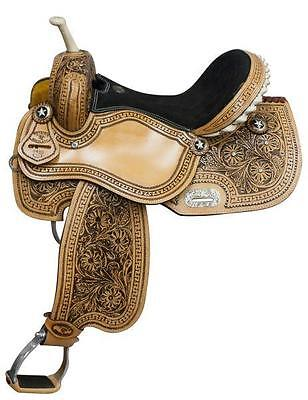 "NEW 15"" Double T barrel saddle with floral tooling and black inlay! HORSE TACK!"