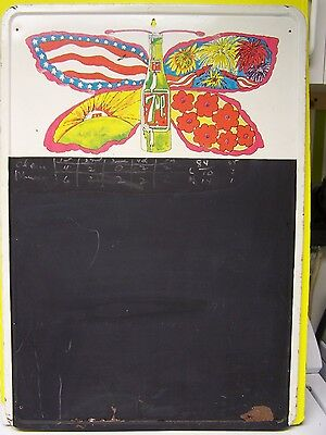 RARE PSYCHEDELIC 70's Original 7 UP Soda Tin Adv Chalk Board BUTTERFLY sign MAX