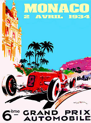 Monaco 1934  Vintage Illustrated Travel Poster Print painting old  90cm