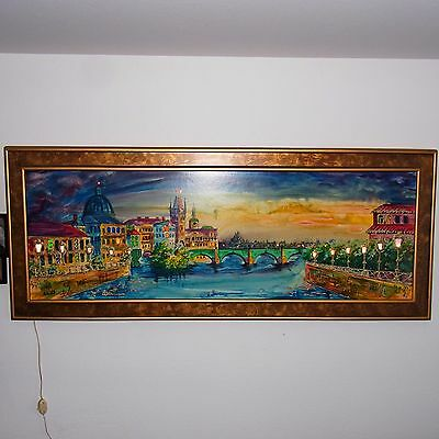 Vtg Large Painting With Lights And Stained Glass Restaurant Display Italy River