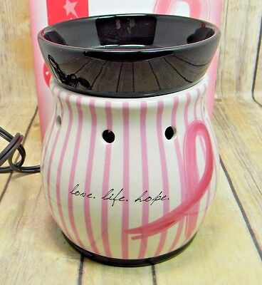 RARE! Retired Scentsy Warmer- Love, Life, Hope HTF Discontinued Breast Cancer