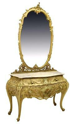 Italian Marble Top Mirrored Bombe Commode, Antique