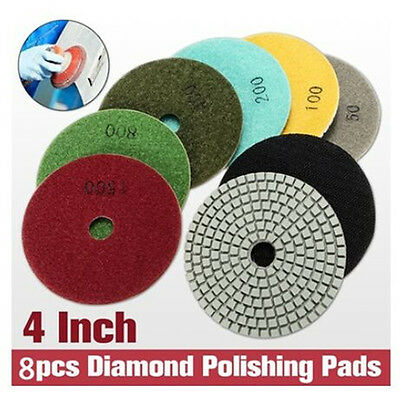 "8pcs 4"" Wet/Dry Diamond Polishing Pads with Backer Pad for Granite Stone Marble"