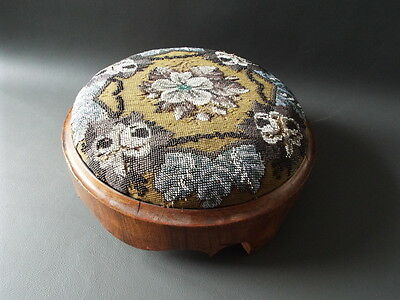 Antique Victorian mahogany foot stool with beaded floral top