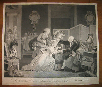 Radierung von P.L. Debucourt: Der Heiratsantrag 1795/Etching Proposal Marriage