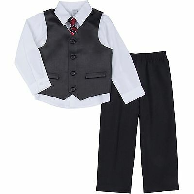 George Infant Baby Toddler Boy 4 Piece Black And White Pin Stripe Dress Suit