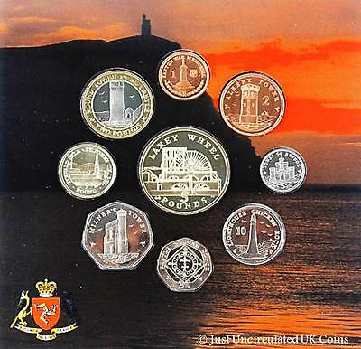 2006 Isle of Man 9 Coin Uncirculated Set in Folder 1p to £5 Laxey Wheel