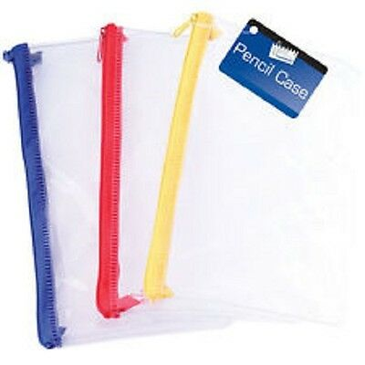 Clear Quality Strong Exam Pencil Case Coloured Zips Office Back to School Tallon