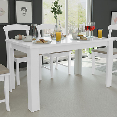 White Dining Table Rectangle Kitchen Tables Dinner Lunch 6 person Home 140cm