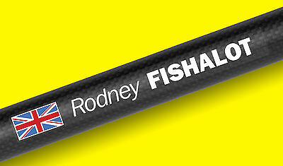 FISHING ROD TACKLE BOX personalised name Decal Stickers SET OF 6 with flag