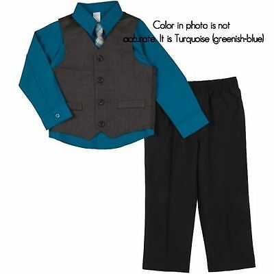 George Newborn Infant Baby Toddler Boy 4 Piece Turquoise And Black Dress Suit