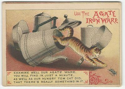 Antique Victorian Trade Card - Agate Iron Ware with a Jumping Cat