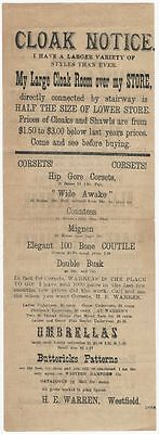 1870s Westfield, Massachusetts Cloth & Clothing and Cloak Store Broadside