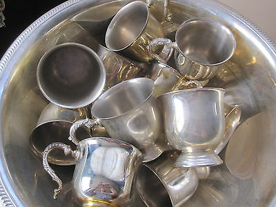 Vintage Silver Punch Set With Matching Ladle And Cups.