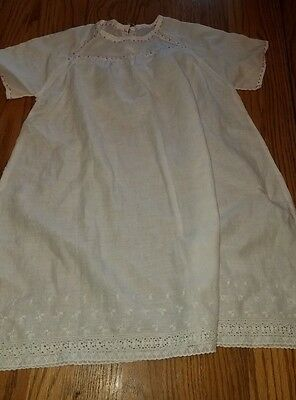 SWEET Vtg White Cotton Baby Nightgown/Dress~Red Hand Stitching & Lace Bottom!