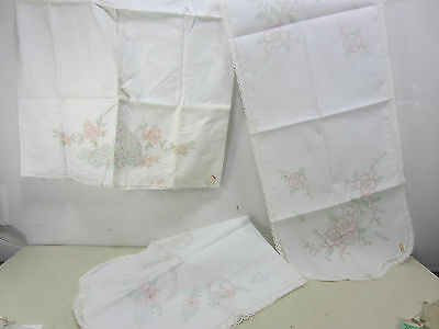 3 Retro Embroidery Projects- 2 Runners & 1 Peacock Pillow Case