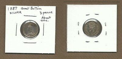1887 Great Britain Silver 3 pence about unc
