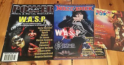 W.A.S.P Lot of 3 WASP Blackie Lawless Cover Story Magazine Power Play Rock Pop