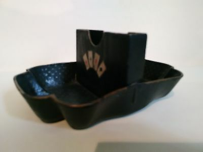 Antique French Black Playing Card Holder Napoleon Iii Paper Mache Painted
