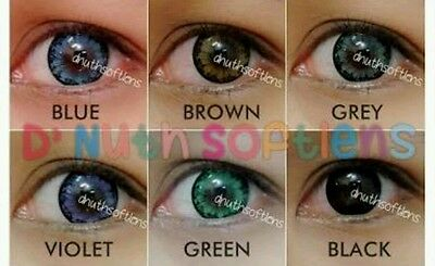 Eye Soft lens + case natural look Green Blue Gray Violet Color beaut accessories