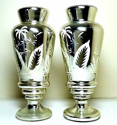 "TWO Matching Mid-1800's Silver Mercury-Glass & White Palms-Etched 11.5"" Vases"