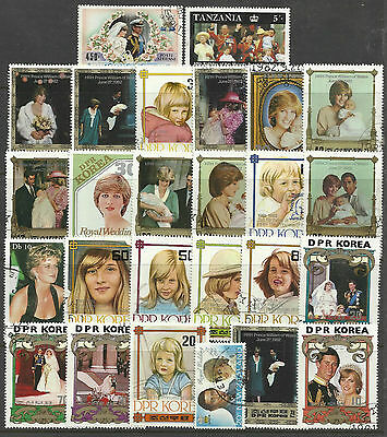 PRINCESS DIANA Collection Packet of 25 DIFFERENT STAMPS USED