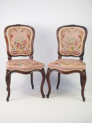 Pair Antique French Rosewood Balloon Back Chairs -Vintage Bedroom Desk Louis XV