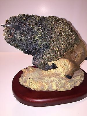 """Buffalo Figurine Sculpture Amy & Addy """"Gray Rock Collection"""" on Wood Base"""