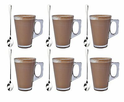 6 x 240ML COFFEE TALL CLEAR GLASS CAFE LATTE CAPPUCCINO MUG CUP & 6 SPOONS