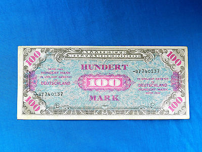 1944 Germany Allied Military Currency    WWII 100 DM Banknote *P-197d*  *VF-XF*