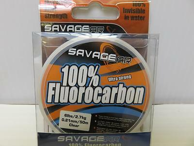 Savage Gear Ultra Strong 100% Fluorocarbon 50m 6lb dia 0.21 Fishing Line