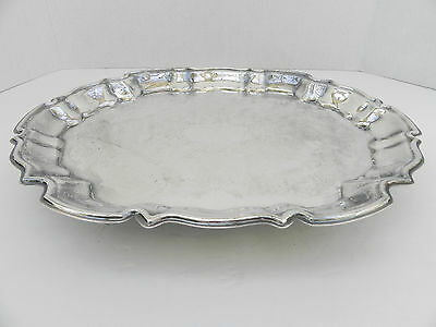 Vintage Leonard EP Silver Plate Serving Tray Scalloped Rim, Footed, Etched