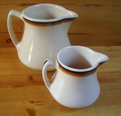 2 Pitchers Inca Ware Shenango China Tan, Black & Brown Stripe Creamer, Syrup
