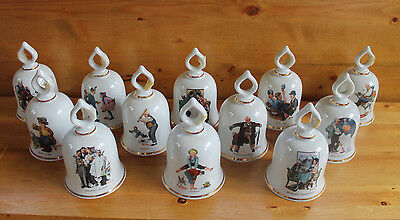 COMPLETE Set of 12 The Wonderful World of Norman Rockwell Porcelain Bells 5.25in