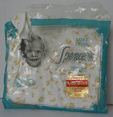 VINTAGE 1970's SPENCER's SOFT SPUN BABY GOWN New in pkg Fits up to 1 yr