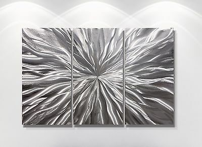 Silver  Metal Sculpture Modern Abstract Wall Art Original Large Contemporary