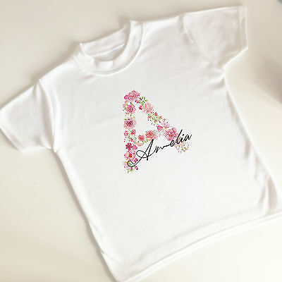 Personalised Kids White T Shirt Supersoft Sensory Flower Initial